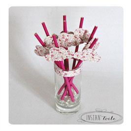 """8 pailles pour table de fête thème """"nuage en liberty Eloise rose"""""""