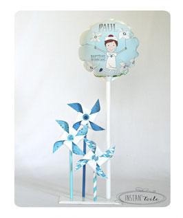 """Ballon personnalisé """"illustration petit garçon & 3 moulins à vent"""""""