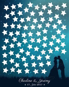 """Tableau à signatures """"silhouette couple de mariés sous ciel étoilé"""""""