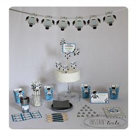 kit décoratif robot - gris argenté et bleu avec guirlande, cartes invitation, cake topper, pailles, pots  à pop corn....