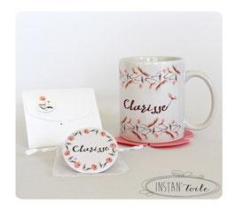 """Duo cadeau : mug + miroir 56 mm à personnaliser - """"graines & fleurs de pissenlit rose poudré"""""""