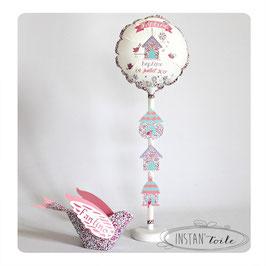 """Ballon personnalisé """"oiseau 3D et nichoirs en liberty - au choix"""""""