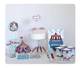 kit décoratif cirque : cake topper, ballon et chapiteau 3D, pailles, badges personnalisés...