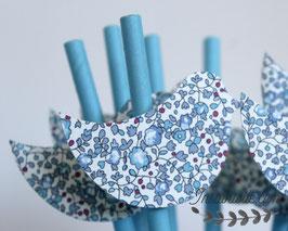 """8 pailles pour table de fête thème """"Oiseau en liberty Éloïse bleu"""" - paille bleu clair"""