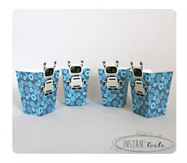 """4 boites pop corn personnalisées """"robot"""" gris argenté et bleu"""
