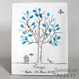 """Arbre à empreintes : cage et oiseaux style """"crayonné à la main"""" version bleu"""