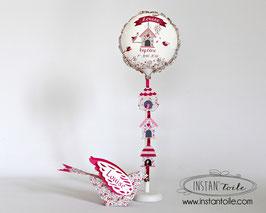 """Ballon personnalisé """"oiseau 3D et nichoirs en liberty Eloïse rose"""""""