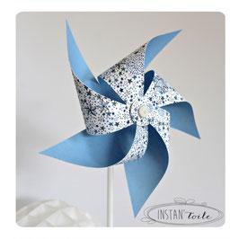 Grand moulin à vent qui tourne en liberty bleu étoiles pour décoration de table