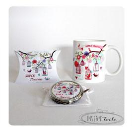 Duo cadeau : mug + miroir de poche à personnaliser - cages et oiseaux colorés sur branches