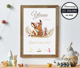 Tableau affiche naissance à personnaliser - thème nature - faon et lapin sur herbe, foin et pampa - couleur beige, ocre, marron, taupe, sable et touches de rose
