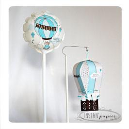 """Ballon personnalisé & montgolfière """"ourson voyageur"""" : bleu, turquoise, chocolat, beige et petit pois"""