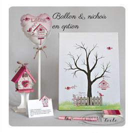 Arbre à empreintes : oiseaux et nichoir Liberty Eloïse rose