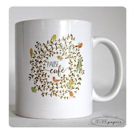 MUG Pause café - couronne de feuillages et d'oiseaux stylisés aux couleurs d'automne