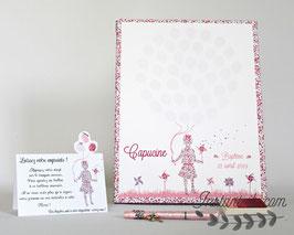 Tableau à empreintes : silhouette fillette en liberty avec ballons et moulins à vent - motif liberty au choix