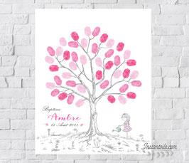 Arbre à empreintes : fillette et son arrosoir avec fleurs au pied de l'arbre - style crayonné à la main