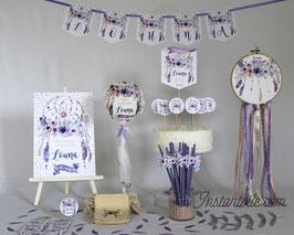 Kit décoratif anniversaire personnalisé Dreamcatcher - attrape rèves fleurs, plumes mauve, rose