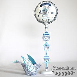 """Ballon personnalisé """"oiseau 3D et nichoirs en liberty Eloïse bleu parme"""""""