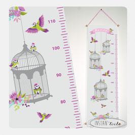 """Toise chambre enfant thème """"cages à oiseaux et fleurs"""" - couleurs au choix"""