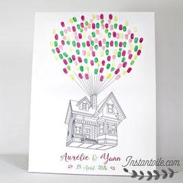 """Tableau à empreintes """"Maison qui s'envole avec mariés à la fenêtre"""""""