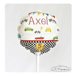 """Ballon personnalisé : """"circuit et grand prix de voitures"""""""