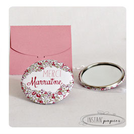 "Miroir 56 mm ""merci marraine"" en liberty"