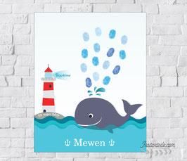Tableau à empreintes : Baleine en pleine mer avec son phare sur le rocher