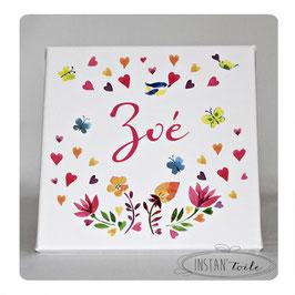 Tableau prénom à personnaliser : motif floral en aquarelle