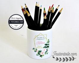 """Pot à crayons """"Branches eucalyptus et fleurs roses sur losanges dorés""""  : cadeau de fin d'année pour maitresse, AVS ou nounou..."""