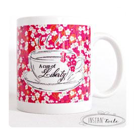 "MUG ""A cup of liberty"" en liberty mitsi fuchsia rouge"