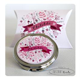 Miroir bannière sur fleurs et feuillages : gris et autre couleur de votre choix
