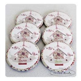 Lot de badges 56 mm avec prénom sur nichoir en liberty Phoebe rose parme