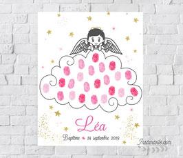 Tableau à empreintes :  Ange - fille ou garçon -  sur nuage avec étoiles dorées ou argentées