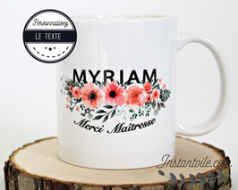 """MUG pour """"Maitresse sur motif fleurs roses et feuillage gris"""" pour cadeau de fin d'année scolaire enseignante école et collège"""