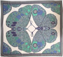 Hermès Paréos aus bedrucktem Baumwollmusselin Motiv 'Papillon' in Gris Clair und Blanc
