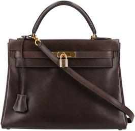 Hermès Kelly 32 Handtasche aus Leder mit Schulterriemen in Dunkelbraun
