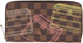 Louis Vuitton Zippy Geldbörse aus Damier Ebene Canvas Limited Edition Trunks