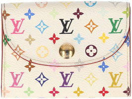 Louis Vuitton Kartenetui Enveloppe Cartes de Visite aus Monogram Multicolore Canvas in Weiss
