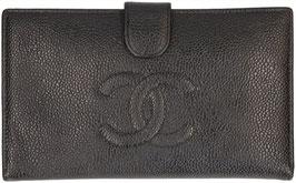 CHANEL Brieftasche aus Caviar Leder in den Farben Schwarz/Gold