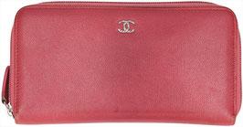 CHANEL Brieftasche mit Reißverschluss aus Kalbsleder in Rosa/Silber