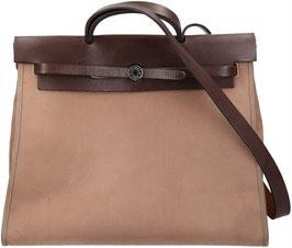 Hermès Herbag Zip Handtasche aus Toile Officier und Hunter Rindsleder