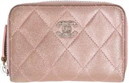 CHANEL Geldbörse aus Leder in den Farben Rose/Silber
