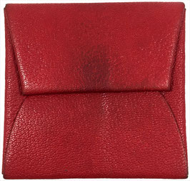 Hermès Bastia Falt-Portemonnaie Geldbörse aus Leder in Rot
