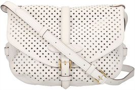 Louis Vuitton Saumur Flore Umhängetasche aus Perforated Leder in Weiss