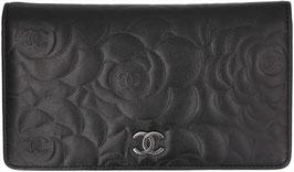 CHANEL Brieftasche aus Leder in den Farben Schwarz/Silber
