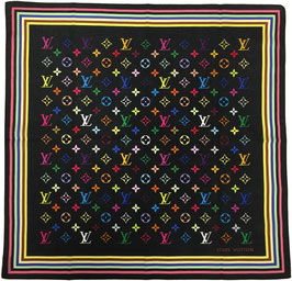 Louis Vuitton Monogram Multicolore Bandana aus Baumwolle in Schwarz