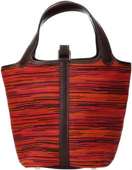 Hermès Picotin Henkeltasche aus Vibrato Leder in Orange/Pinktönen und Dunkelbraun