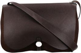 Hermès Colorado Umhängetasche aus Leder und Textil in dunklem Braun