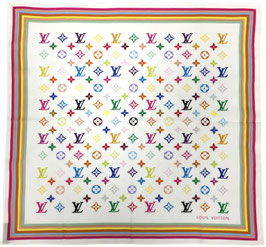 Louis Vuitton Monogram Multicolore Bandana aus Baumwolle in Weiss
