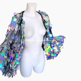 'Holographic' sequin cape