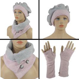 Damen Mütze Schal Stulpen 3er Set rosa-grau Fleece Luca